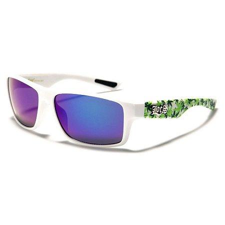 Óculos Sol Masculino Locs Rubber Grip Cannabis Branco Espelhado UV400