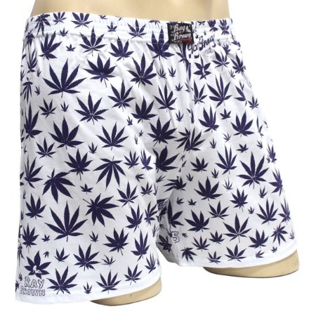 Cueca Samba Canção Cannabis Purple Kush Branco e Roxo Ray Brown