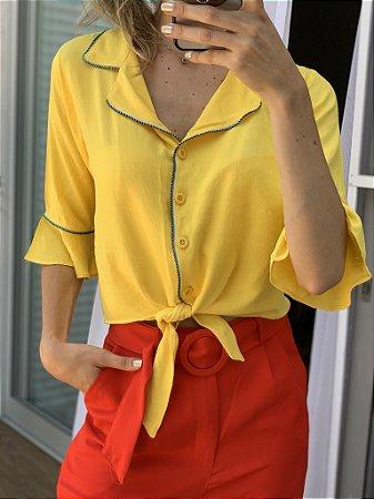 Camisa viscolinho amarrar