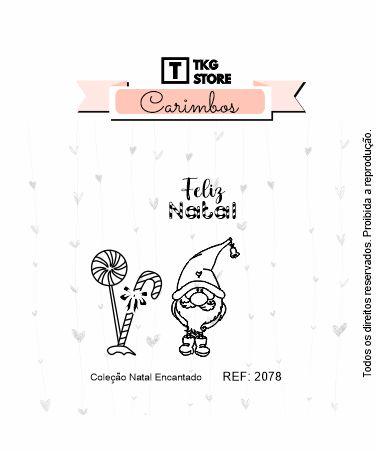 Carimbo Artesanal Natal Encantado  Duende 2078