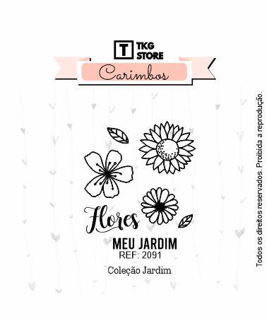 Carimbo Silicone Jardim Flores 2091