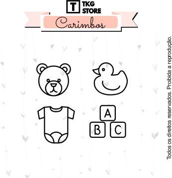 Kit Carimbo Artesanal Bebê com 4 unidades Scrapbook
