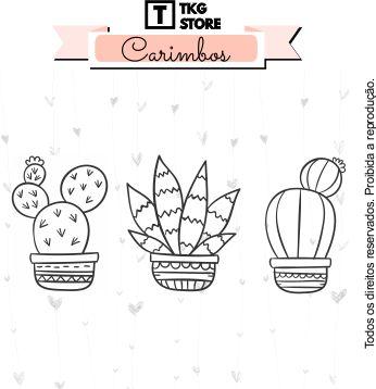 Carimbo Artesanal Cactus 1 Scrapbook