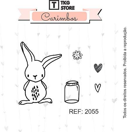 Carimbo Artesanal Coelho Pote e corações 2055