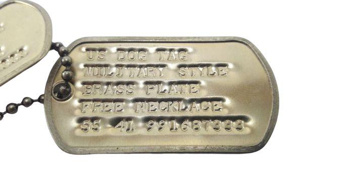 Dog Tag Original U.S. Army com Gravação - Latão