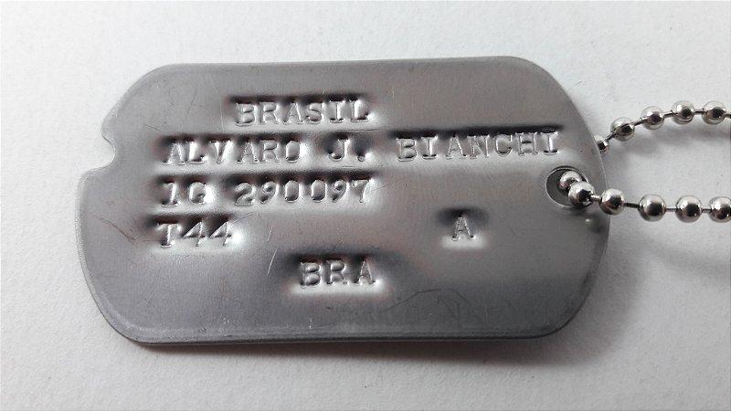 Dog Tag FEB / Segunda Guerra Mundial Original USA Gravado em Baixo Relevo com corte V