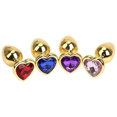 Plug anal de aço dourado de coração