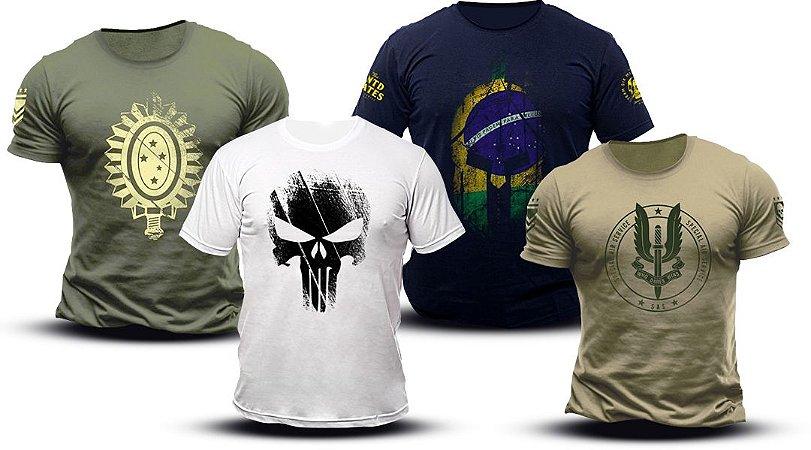 7c5c4b6273b42 Kit 4 Camisetas - Mercado do Milico