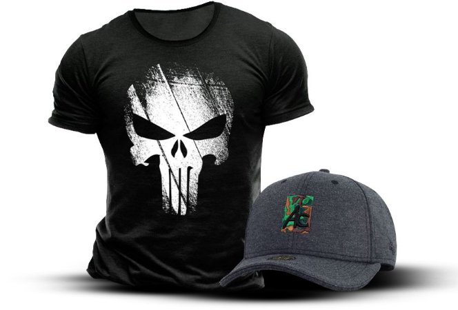 Camiseta Justiceiro Punisher + Boné - Mercado do Milico  a7f33e9f28114