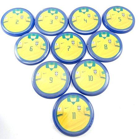 10 Botões - Acrílico Cristal 49mm - Brasil