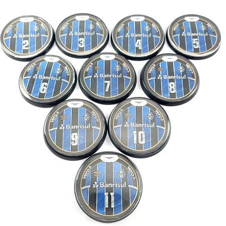 10 Botões - Acrílico Cristal 49mm - Grêmio