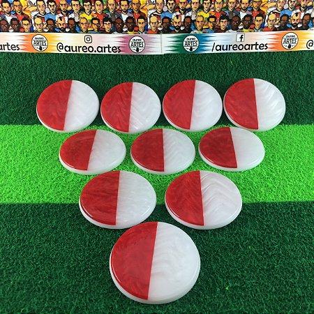 Time de Futebol de Botão - Madrepérola 49mm - Placa Dupla - Personalizado