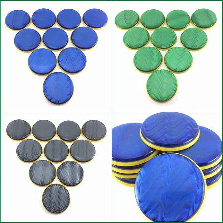 Time de Futebol de Botão - Madrepérola 49mm - Base Amarela