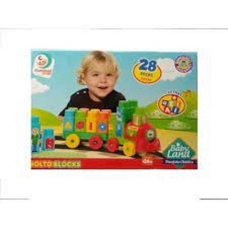 Brinquedo Infantil Trenzinho Didatico 28 Peças Cardoso 8015
