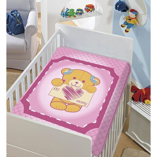 COBERTOR INFANTIL EU AMO MAMY TRADICIONAL ROSA JOLITEX- 4155
