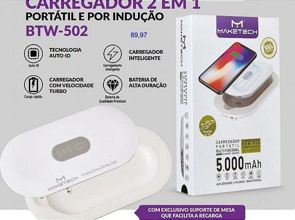 CARREGADOR 2 EM 1 PORTATIL  COM LED BTW502 SEM FIO MAKETECH