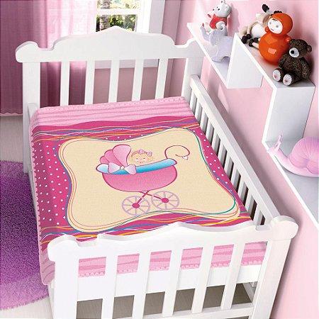 COBERTOR INFANTIL MENINA NO CARRINHO PINK RASCHEL  JOLITEX- 4707