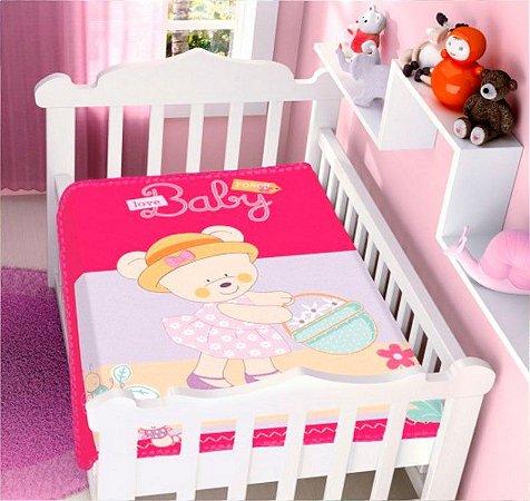 COBERTOR INFANTIL URSINHA BABY RASCHEL PINK JOLITEX- 4707