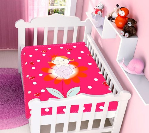 COBERTOR INFANTIL PRINCESINHA RASCHEL PINK JOLITEX- 4707