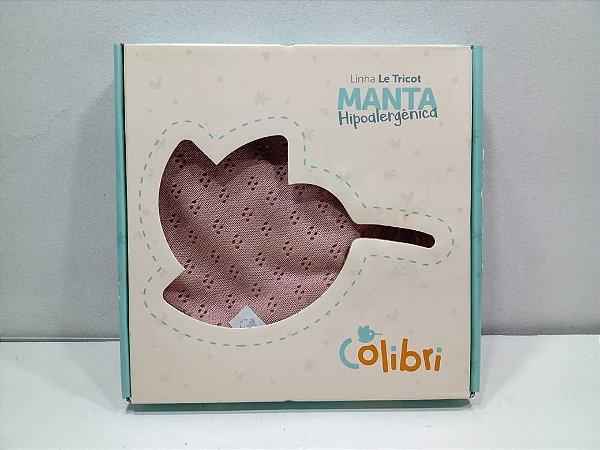 MANTA CHEVRON 78X78 CM ROSA ENVELHECIDO COLIBRI- 20105