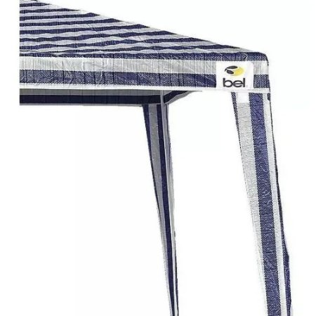 TENDA GAZEBO 3x3 M POLIETILENO LISTRADO AZUL/BRANCO BEL FIX- 301250