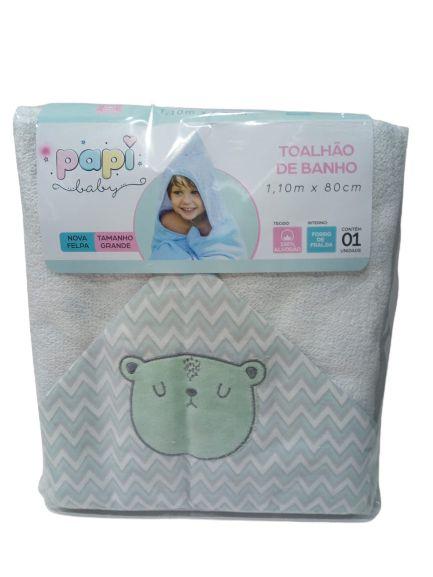 TOALHA DE BANHO COM CAPUZ  PAPI BABY URSO  BRANCA 0924