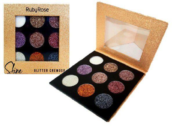 PALETA DE GLITTER CREMOSO SHINE 9 CORES  LIGHT RUBY ROSE HB-8407/G