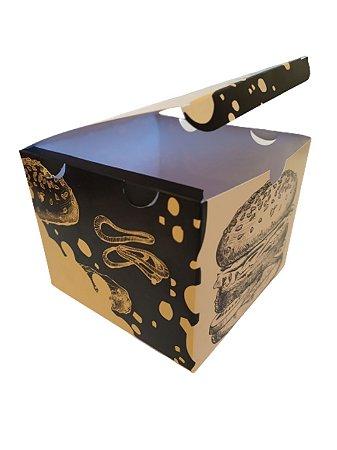 100 Embalagens Para Hambúrguer Delivery Viagem Caixa Box Estampada