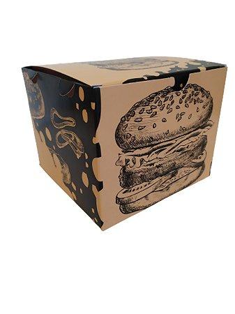 200 Embalagens Hambúrguer Delivery Viagem Caixa Estampada Box Moderna