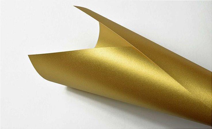 Papel Metalizado Ouro 180g Metálico Dourado A4 18 Fols 180gr