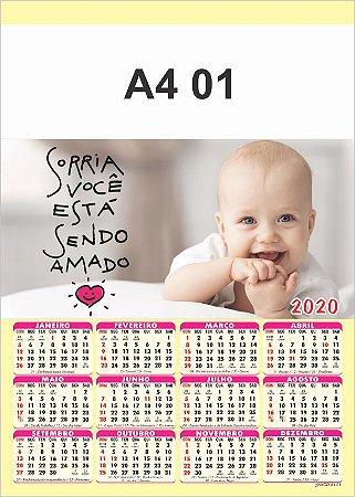 100 Calendários Folhinha  2020 S/ Personalização Bebê