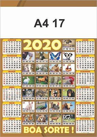 100 Calendários Folhinha  2020 S/ Personalização Jogo do Bicho