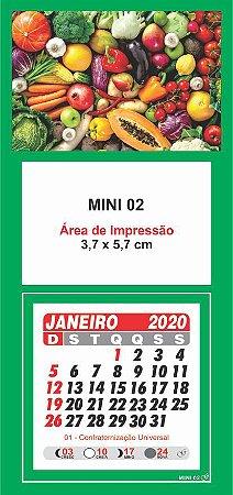 100 Mini Calendário Imã Geladeira 2020 Personalizado Sacolão
