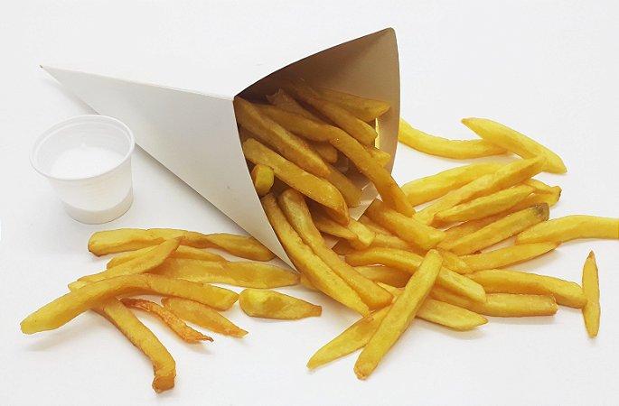 100 Caixa Caixinha Embalagem Branca Cone Batata Frita Grande G