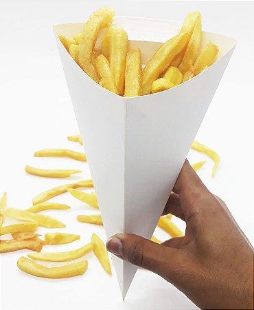 Caixa Caixinha Embalagem Branca Cone Batata Frita 500 Un M