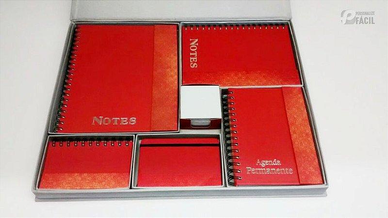 Brinde Corporativo De Luxo 6 Peças Agenda Caderno Caderneta