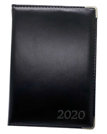 Agenda Diária 2020 Comercial Preta Costurada Luxo Executiva