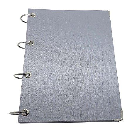 Caderno Universitário Argolado Fichário 4 Argola 10 Matérias Prata