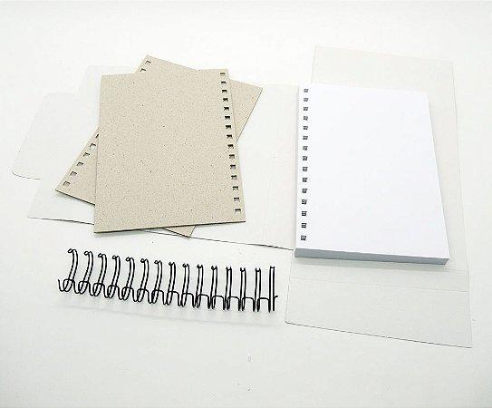 Kit Caderno Grande Refil Miolo Pautado Wire-o Capas Desmontado