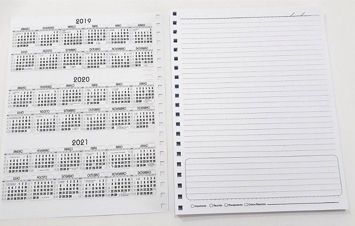 2 Miolos De Caderno Médio Pautado Refil Bloco Furado Papel Branco 15,8 x 22,8 cm