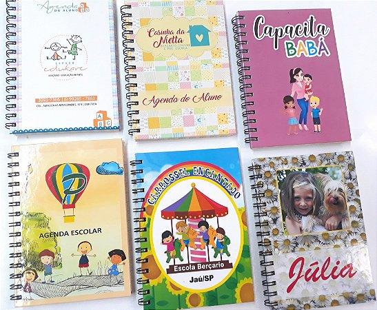 10 Agendas Personalizadas infantil para escolinha pré escola maternal com logo