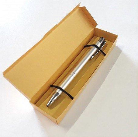 50 Caixas Para Caneta Estojo Embalagem Papel Metalizado Dourado