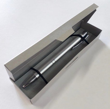 50 Caixas Para Caneta Estojo Embalagem Papel Metalizado Prata