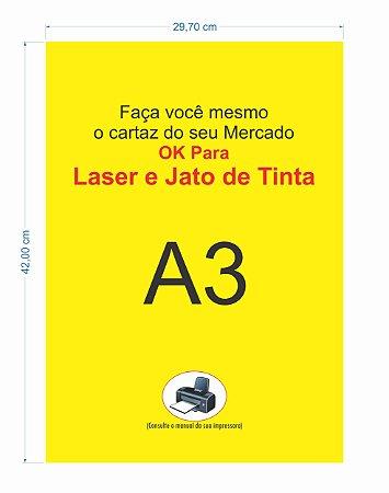 100 Cartazes A3 Amarelo P/ Jato De Tinta Ou Laser Supermercado