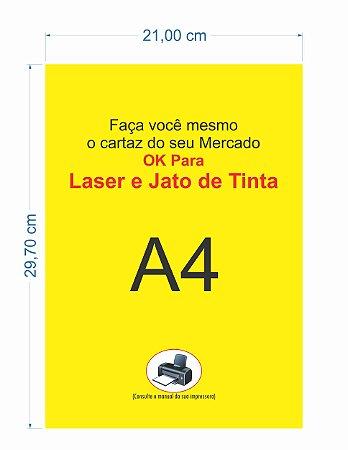 100 Cartaz A4 Amarelo P/ Jato De Tinta Laser Inkjet Cartazes
