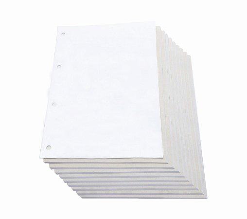 100 Refil De Caderno Universitário Argolado Furado Branco