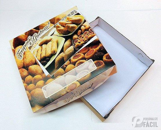 60 Caixas Embalagem Fotográfica Para Salgado Esfiha Papelão Branco