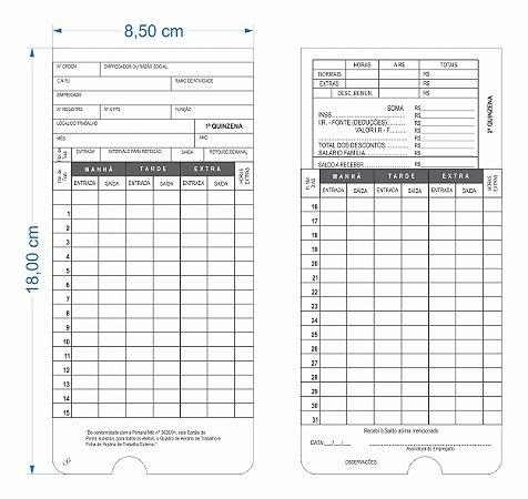 100 Cartão De Ponto Para Relógio Cartográficos Funcionários