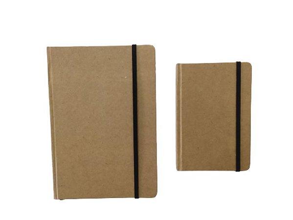 2 Caderneta Sketchbook Kraft Rústico Marrom Grande E Pequena