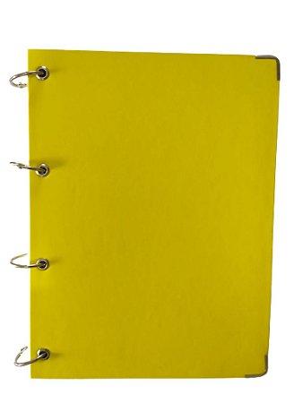 Caderno Universitário Argolado Amarelo 10 Matérias Capa Dura